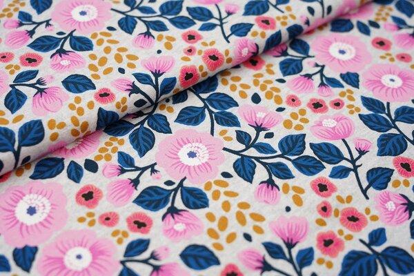 Baumwoll-Jersey Blumen in hell pink und blau auf grau meliert