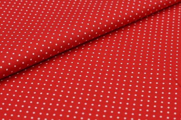 Baumwollstoff Baumwolle rot mit kleinen weißen Punkten