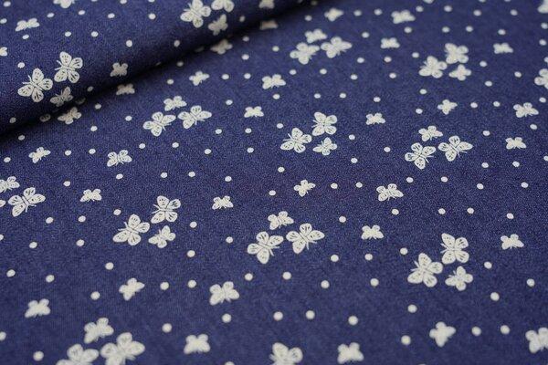 Sommer Jeans-Stoff weiße Schmetterlinge und Punkte auf dunkelblau jeansblau