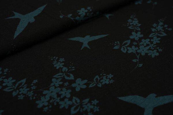 Viskose-Jersey Blumen und Schwalben schwarz / moosgrün Vogel Vögel