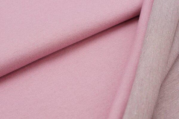 Jacquard-Sweat Ben altrosa Uni mit altrosa taupe braun und off white Rückseite