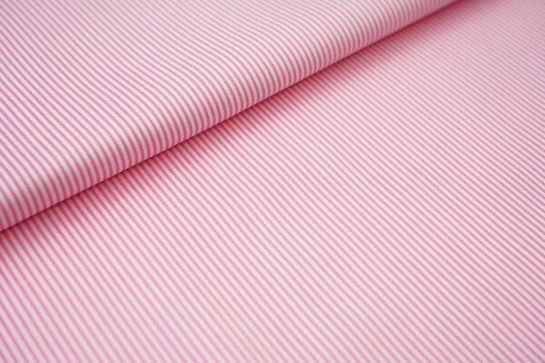 Baumwollstoff Ringel Streifen schmal rosa / weiß