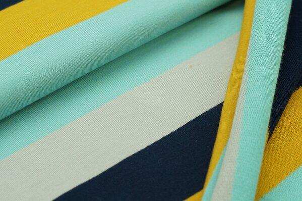 Sommersweat MARIE Blockstreifen eisblau senf navy blau hellgrau