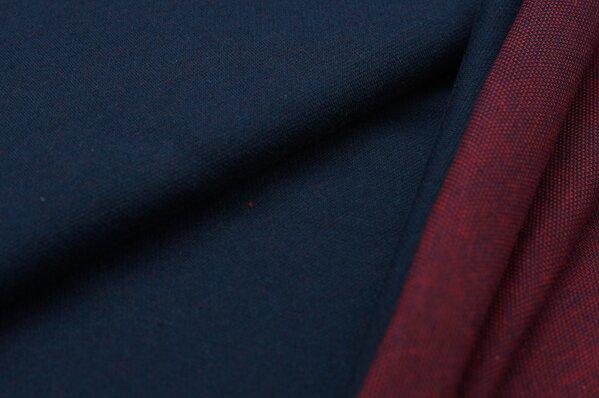 Jacquard-Sweat Ben navy blau Uni mit roter / navy blauer Rückseite