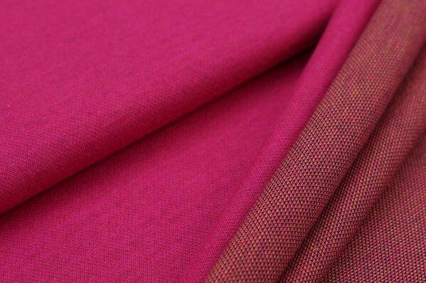 Jacquard-Sweat Ben amarant pink Uni mit navy blauer und oranger Rückseite