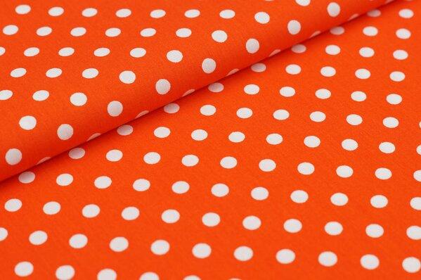 Baumwollstoff Baumwolle große Punkte orange / weiß