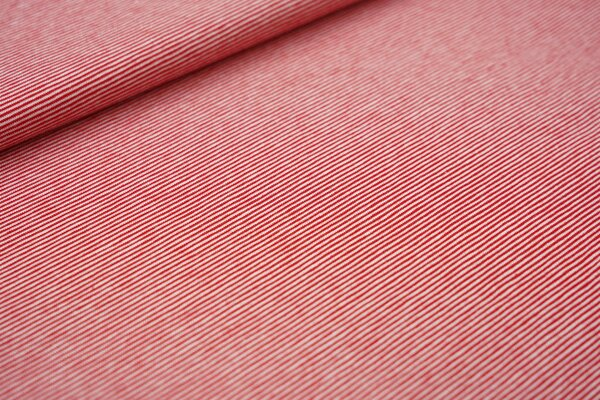 Baumwoll-Jersey Mini-Streifen Ringel rot / weiß