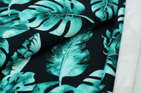 Baumwoll-Sweat Digitaldruck Palmenblätter petrol light auf schwarz