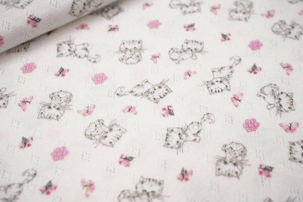 Feinstrick-Jersey mit Lochmuster Katzen Schmetterlinge Blumen weiß