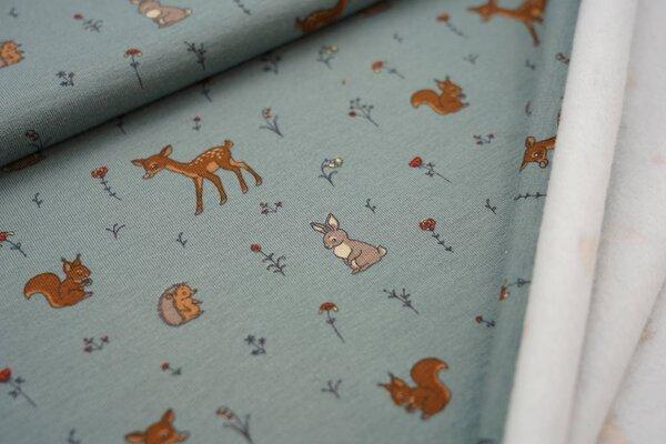 Kuscheliger Baumwoll-Sweat kleine Tiere und Blumen auf altgrün Reh Igel Hase