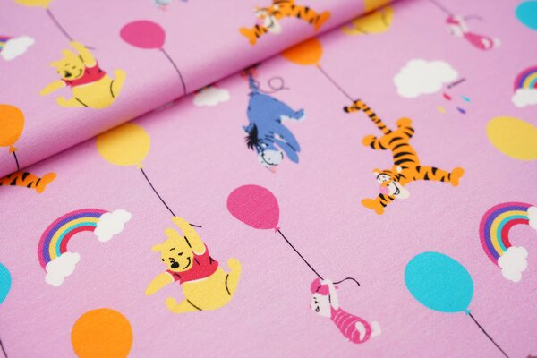 Digitaldruck Baumwoll-Jersey Winnie Pooh Tigger Ferkel I-Aah Luftballons rosa