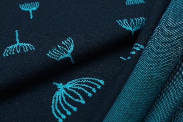 Jacquard-Sweat Ben türkise Pusteblumen auf navy blau