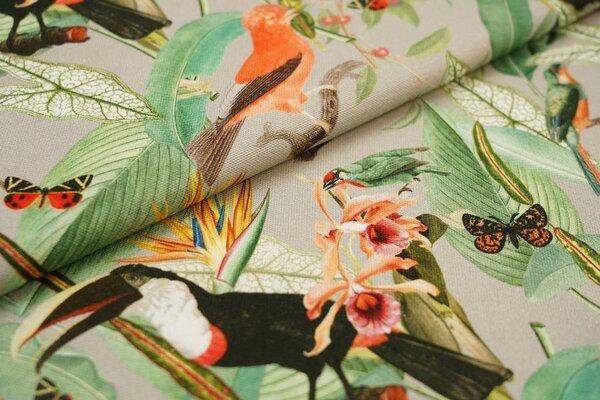 Dekostoff Canvas Digitaldruck Vögel Pflanzen Schmetterlinge grau / grün Vogel
