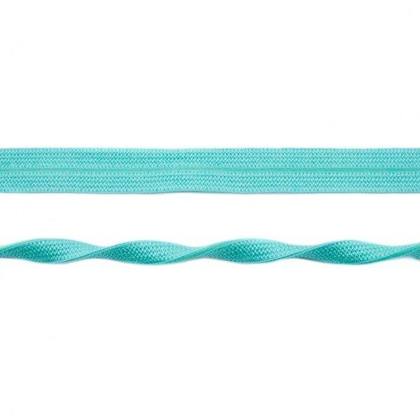 Elastisches Schrägband Jacquard Einfassband uni türkis 20 mm breit