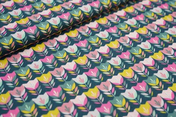 Baumwoll-Stoff Tulpen-Reihe grün / oliv / rosa / pink Blumen