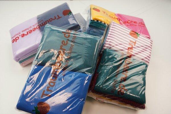 Stoffpaket Bündchen Mix 3 m verschiedene Farben gemischt
