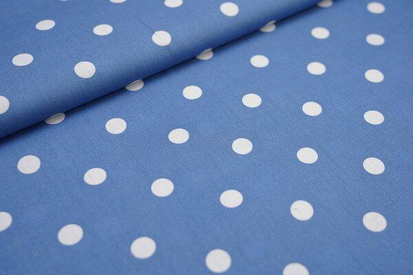 Baumwolle große Punkte taupe blau / weiß