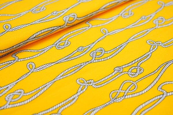 Baumwoll-Jersey Taue Seile mit Knoten gelb / weiß / schwarz maritim