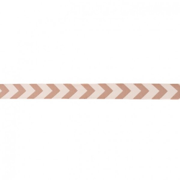 Webband Zierband mit Pfeilen beige / hellbraun 15 mm
