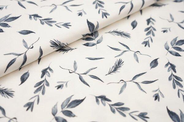 Baumwoll-Jersey graublaue Zweige mit Blättern auf creme weiß