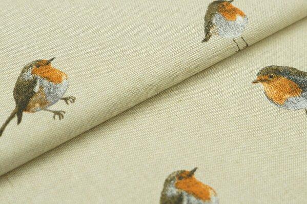Dekostoff Canvas Rotkehlchen Vögel Vogel Leinenoptik natur