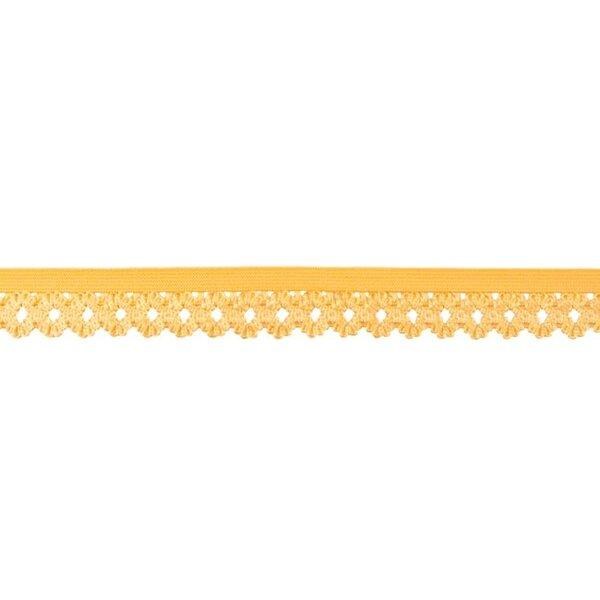 Elastisches Zierband Gummiband mit Rüschen Blumen Spitze uni gelb 20 mm