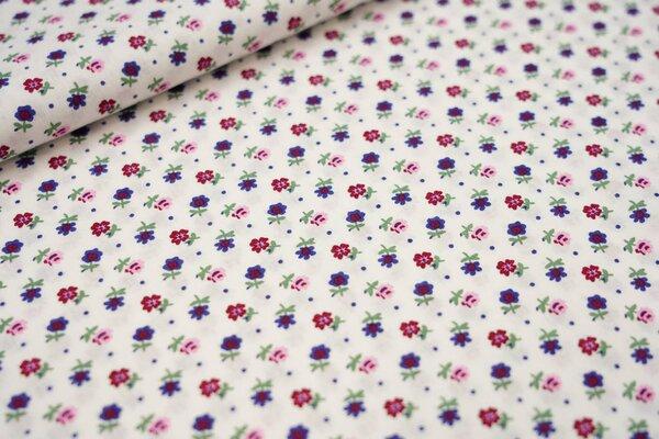 Baumwollstoff kleine Blumen und Punkte creme / blau / bordeaux / grün / rosa