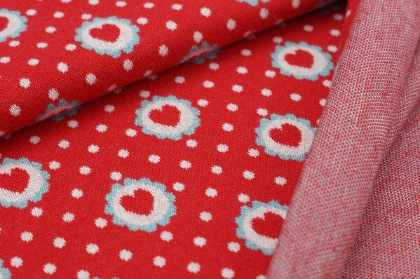 Jacquard-Sweat Ben Punkte und Herzen in Blume rot / off white / eisblau