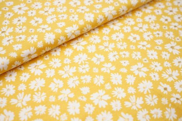Baumwoll-Jersey weiße Blumen mit Gold Glitzer auf gelb