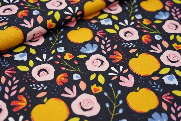 Baumwollstoff bunte Blumen und Äpfel auf schwarz Apfel Blätter Punkte