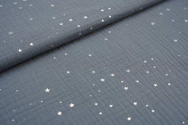 Musselin Stoff Double Gauze uni grau mit Silver Stars Sterne