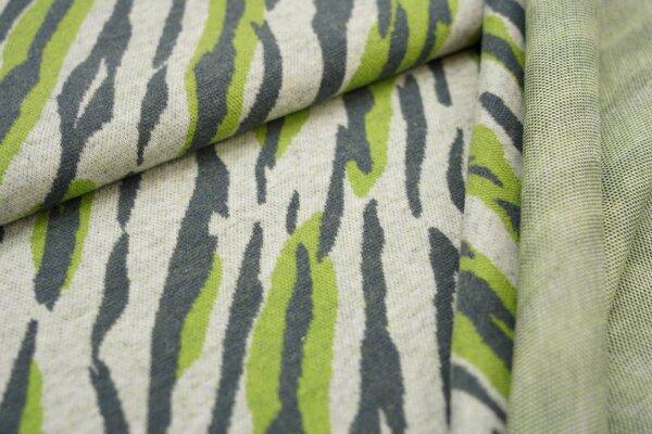 Jacquard-Jersey Tigerfell Design off white / dunkelgrau / hellgrün
