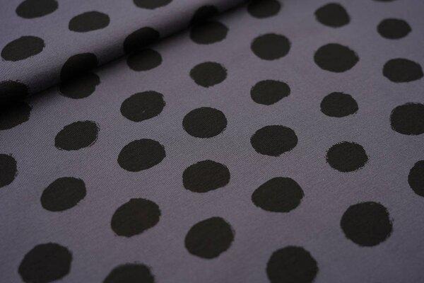 Baumwoll-Jersey große schwarze Punkte auf dunkelgrau