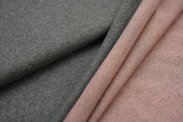 Jacquard-Jersey dunkelgrau Uni mit dunkelgrau und lachs Rückseite
