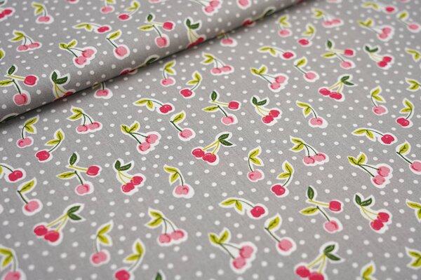 Baumwoll-Stoff Kirschen und Punkte grau / weiß / rosa / rot / grün