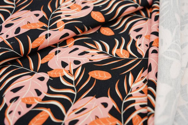 Baumwoll-Sweat Digitaldruck Monstera Blätter schwarz orange koralle off white