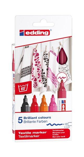edding Textilmarker Set 4500 warme Farben 2-3 mm Spitze schwarz rot orange rosa