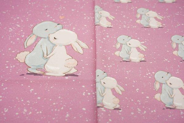 Panel Baumwoll-Jersey kuschelnde Hasen und Farbtupfen auf altrosa Digitaldruck