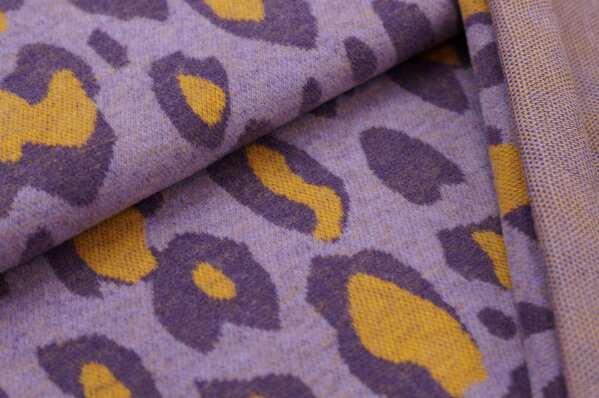 Kuschel Jacquard-Sweat Max XXL Leoparden Muster lila / hell lila / senf