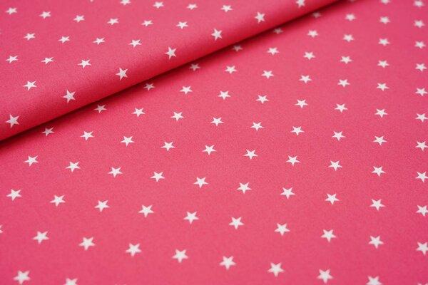 Baumwolle weiße Sterne auf himbeerrosa