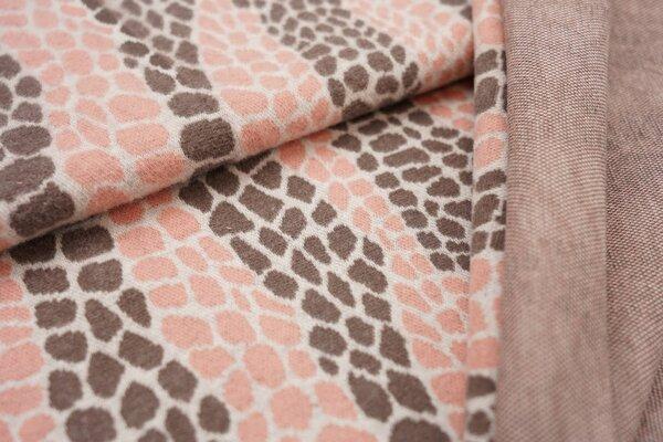 Jacquard-Jersey Schlangenhaut Design off white / taupe braun / lachs