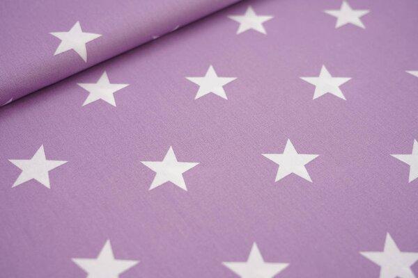 Baumwollstoff Baumwolle hell lila mit sehr großen weißen Sternen