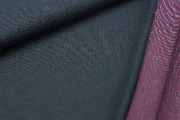Jacquard-Sweat Ben dunkelgrauer Uni mit hellgrauer und amarant pinker Rückseite
