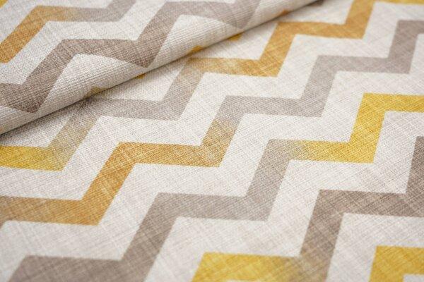 Canvas-Stoff Dekostoff Zick Zack Wellen Muster hell beige gelborange graubraun