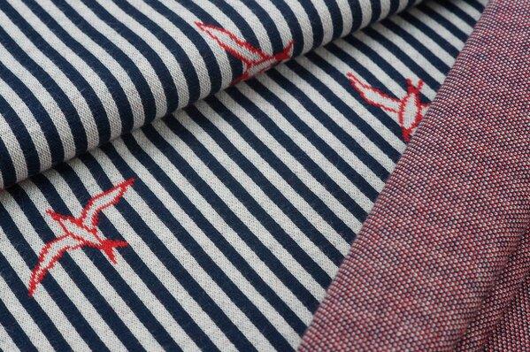 Jacquard-Sweat Schwalben Vögel (umrandet) Streifen navy blau / off white / rot