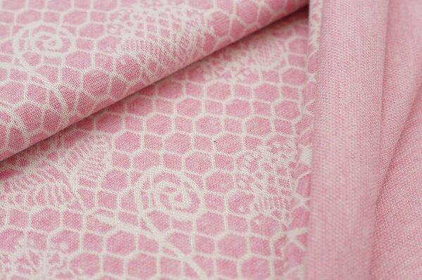 Jacquard-Sweat Mia Melange off white Blumen Muster auf pastell pink Melange