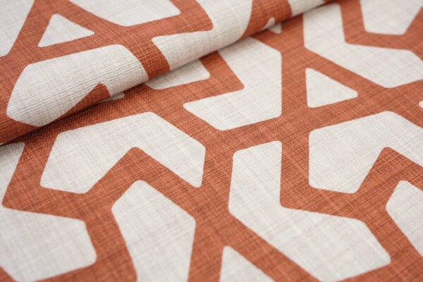 Canvas-Stoff Dekostoff großes geometrisches Muster hell beige / rotbraun