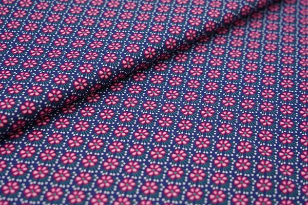 Baumwollstoff Blümchen-Muster dunkelblau / weiß / pink Blumen