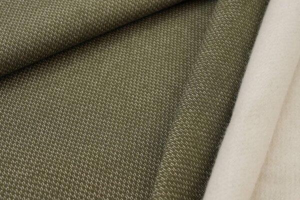 Jacquard-Sweat mit Kästchen-Muster und kuscheliger Innenseite olivgrün / weiß