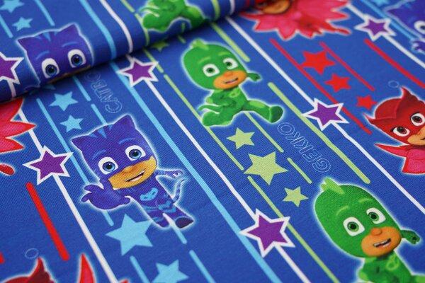 Baumwoll-Jersey PJ Masks Pyjamahelden Catboy Gecko Eulette Streifen Sterne blau